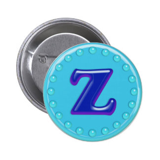 Aqua Initial Z Pinback Buttons