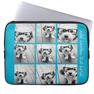 Aqua Instagram Photo Collage with 9 square photos Laptop Computer Sleeve