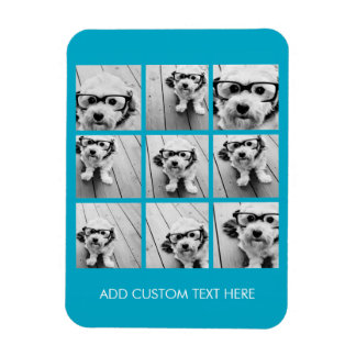 Aqua Instagram Photo Collage with 9 square photos Magnet