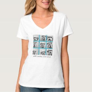 Aqua Instagram Photo Collage with 9 square photos T-Shirt