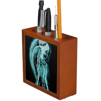 Aqua Inverted Angel Desk Organiser