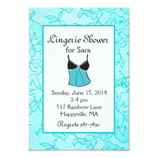 Aqua Lace Lingerie Bridal Shower Invitations