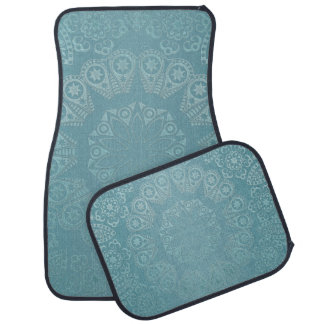 Aqua Lace Mandala Car Mat