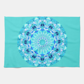 Aqua Lace Mandala, Delicate, Abstract Tea Towel