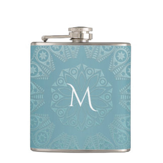 Aqua Lace Mandala Hip Flask