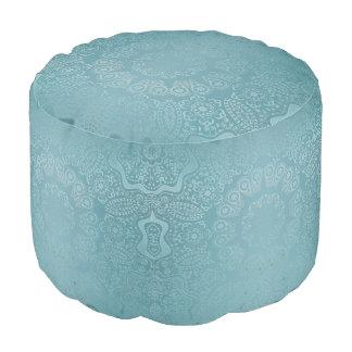 Aqua Lace Mandala Pouf