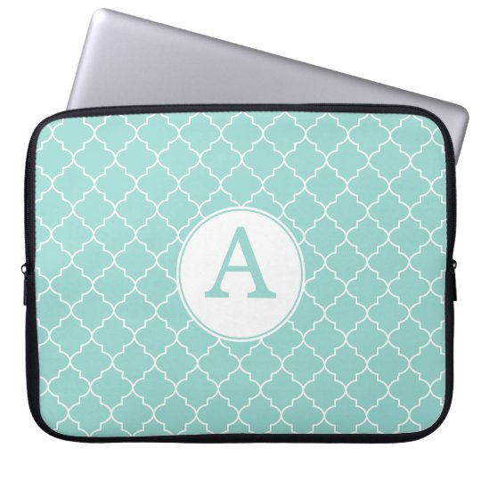 Aqua Lace Monogram Laptop Sleeve