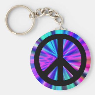 Aqua Light Show with Peace Sign Key Ring