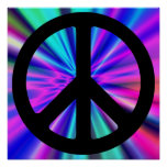 Aqua Light Show with Peace Sign Poster