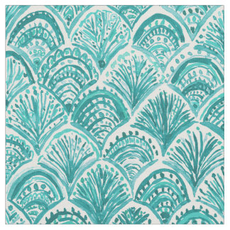Aqua LIKE A MERMAID Nautical Fish Scales Pattern Fabric
