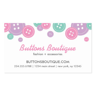 Aqua Lilac & Pink Cute Buttons Border Double-Sided Standard Business Cards (Pack Of 100)