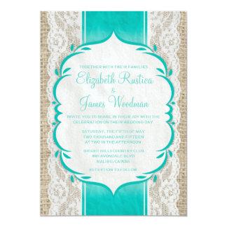 Aqua Linen Burlap & Lace Wedding Invitations