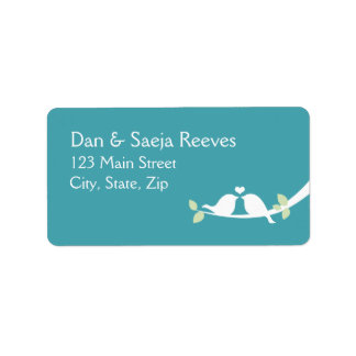 Aqua Love Birds Address Label