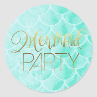 Aqua Mermaid Scales | Gold Typography Round Sticker