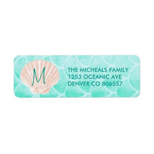 Aqua Mermaid Scales   Seashell Custom Address Return Address Label