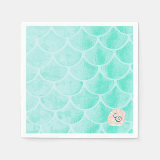 Aqua Mermaid Scales | Seashell | Custom Initial Disposable Napkins