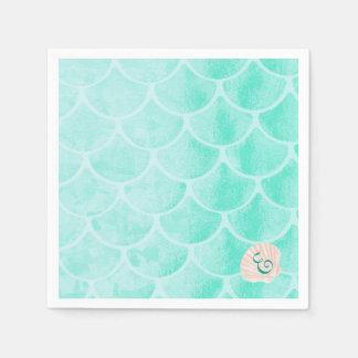Aqua Mermaid Scales   Seashell   Custom Initial Disposable Serviette