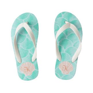 Aqua Mermaid Scales | Seashell Custom Initial Thongs