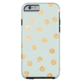 Aqua Mint and Gold City Dots Tough iPhone 6 Case