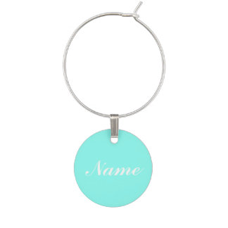 Aqua mint blue turquoise green wine tag charm
