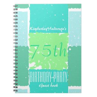 Aqua Mint Green Colors 75th birthday Guest Book