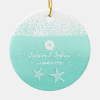Aqua mint green watercolor sand dollar starfish ceramic ornament