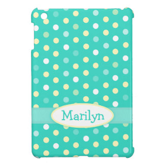 Aqua mint polka dot name girls ipad mini case