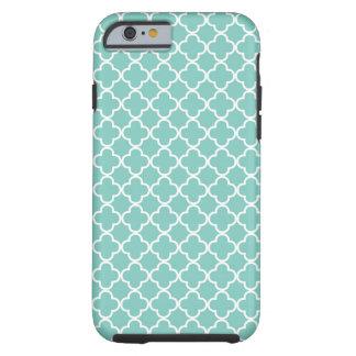 Aqua Mint Quatrefoil Pattern Tough iPhone 6 Case