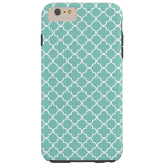 Aqua Mint Quatrefoil Pattern Tough iPhone 6 Plus Case
