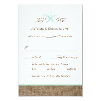 Aqua Mint Starfish Burlap Beach Wedding RSVP Cards 9 Cm X 13 Cm Invitation Card