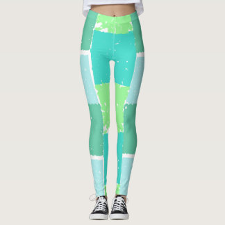 Aqua Mint Trendy Colors Faux-Batik Leggings