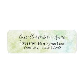 Aqua Mint Watercolor Abstract Return Address Label