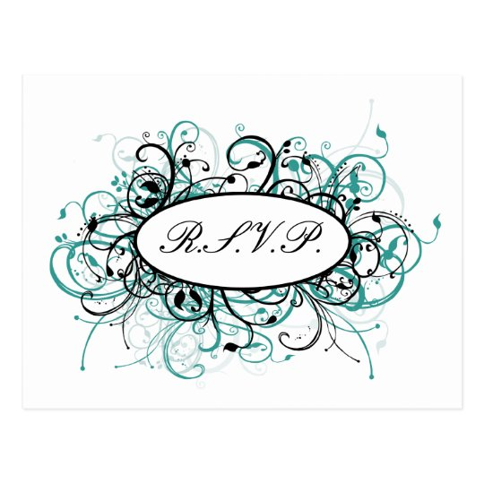 aqua mod Wedding rsvp card