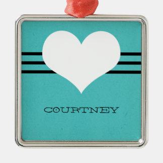 Aqua Modern Heart Ornament