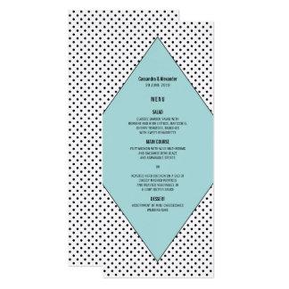 Aqua Modern Polka Dots Wedding Menu Card