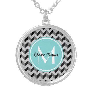 Aqua Monogram Black and Gray Chevron Pattern Round Pendant Necklace
