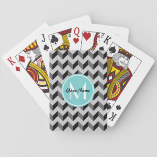Aqua Monogram Black and Gray Chevron Pattern Playing Cards