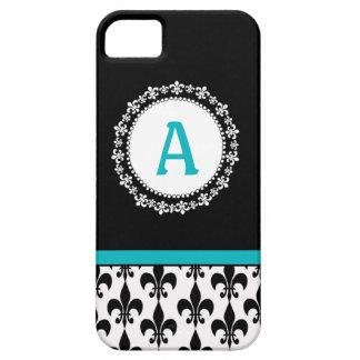 Aqua Monogram Fleur de Lis iPhone 5 Case