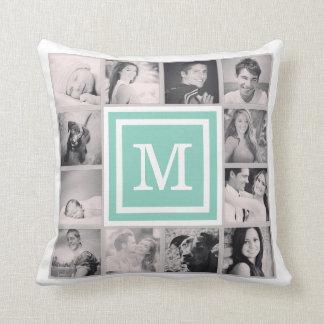 Aqua Monogram Instagram Photo Collage Throw Cushion