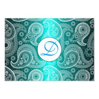 Aqua Monogram Lace India Wedding Invitation RSVP