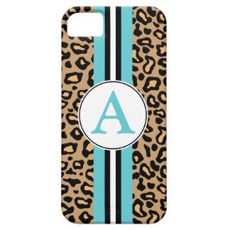 Aqua Monogram Leopard iPhone 5 Case Mate