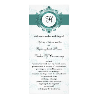 aqua monogram Wedding program Personalized Rack Card