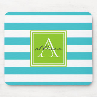 Aqua Monogrammed Awning Stripe Mouse Pad