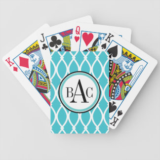 Aqua Monogrammed Barcelona Print Bicycle Playing Cards