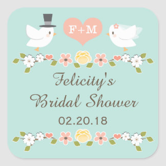 AQUA MONOGRAMMED DOVE LOVE BIRDS BRIDAL SHOWER SQUARE STICKER