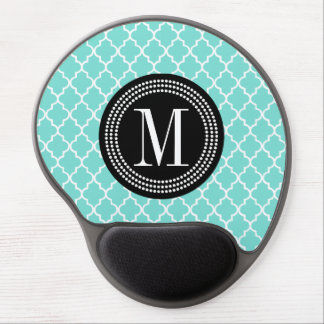Aqua Moroccan Tiles Lattice Personalized Gel Mouse Pad