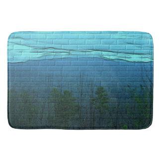 Aqua Mountain Morning Brick Pattern Bath Mat