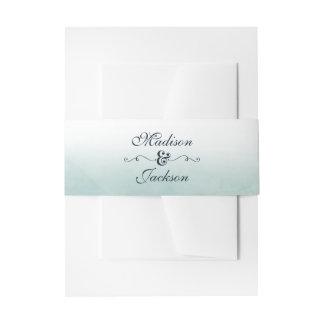 Aqua & Navy Blue Ombre Watercolor Wedding Monogram Invitation Belly Band