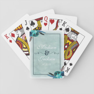 Aqua & Navy Blue Watercolor Floral Wedding Favor Playing Cards
