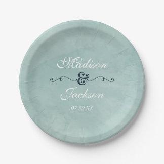 Aqua & Navy Blue Watercolor Wedding Monogram Paper Plate